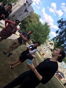 Grace Pusey '15 leads new faculty on the Black at Bryn Mawr tour (August 2015). Photograph by Monica Mercado.