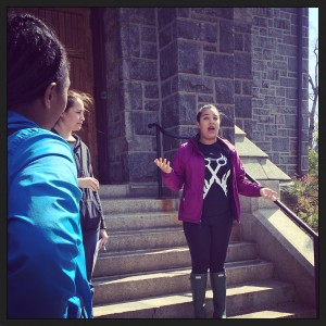 Emma speaks to Professor Beard's Black Bards class (April 21, 2015). Photograph by Monica Mercado.