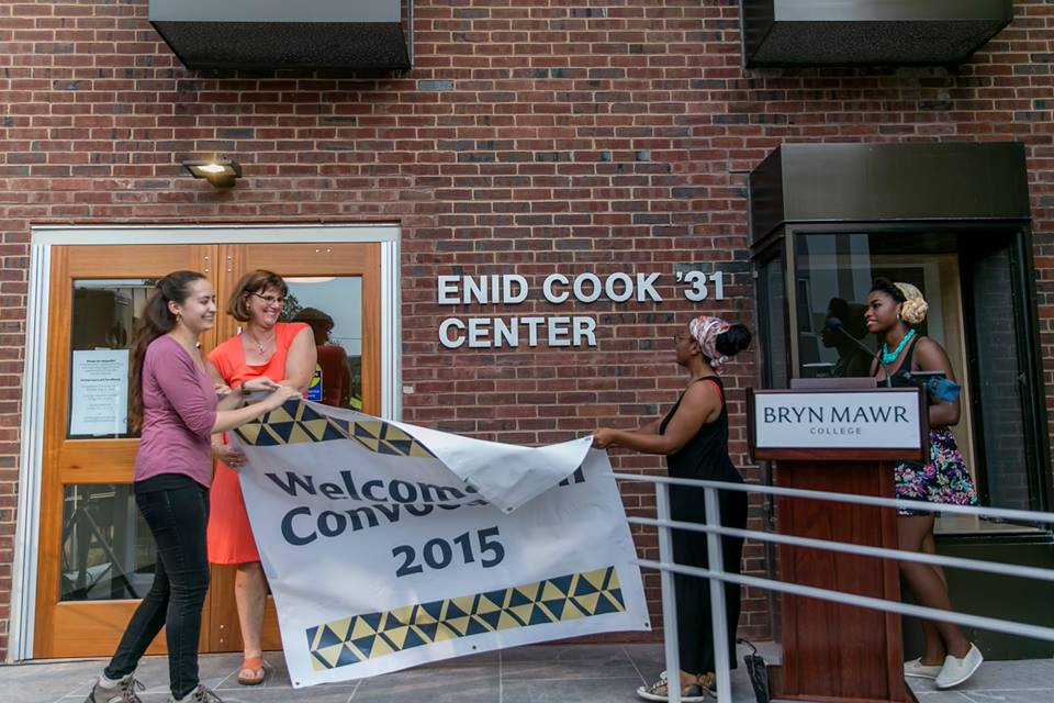 President Cassidy and students Grace Pusey, Khadijah Seay, and Danielle Cadet at the Cook Center dedication, August 31, 2015. Photo credit: Bryn Mawr College Communications.