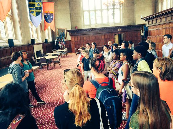 Students gather in Thomas Great Hall on the Black at Bryn Mawr tour, April 2015. Photo credit: Monica Mercado